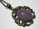 Chain dragon symbol bronze purple glass stone 46 cm